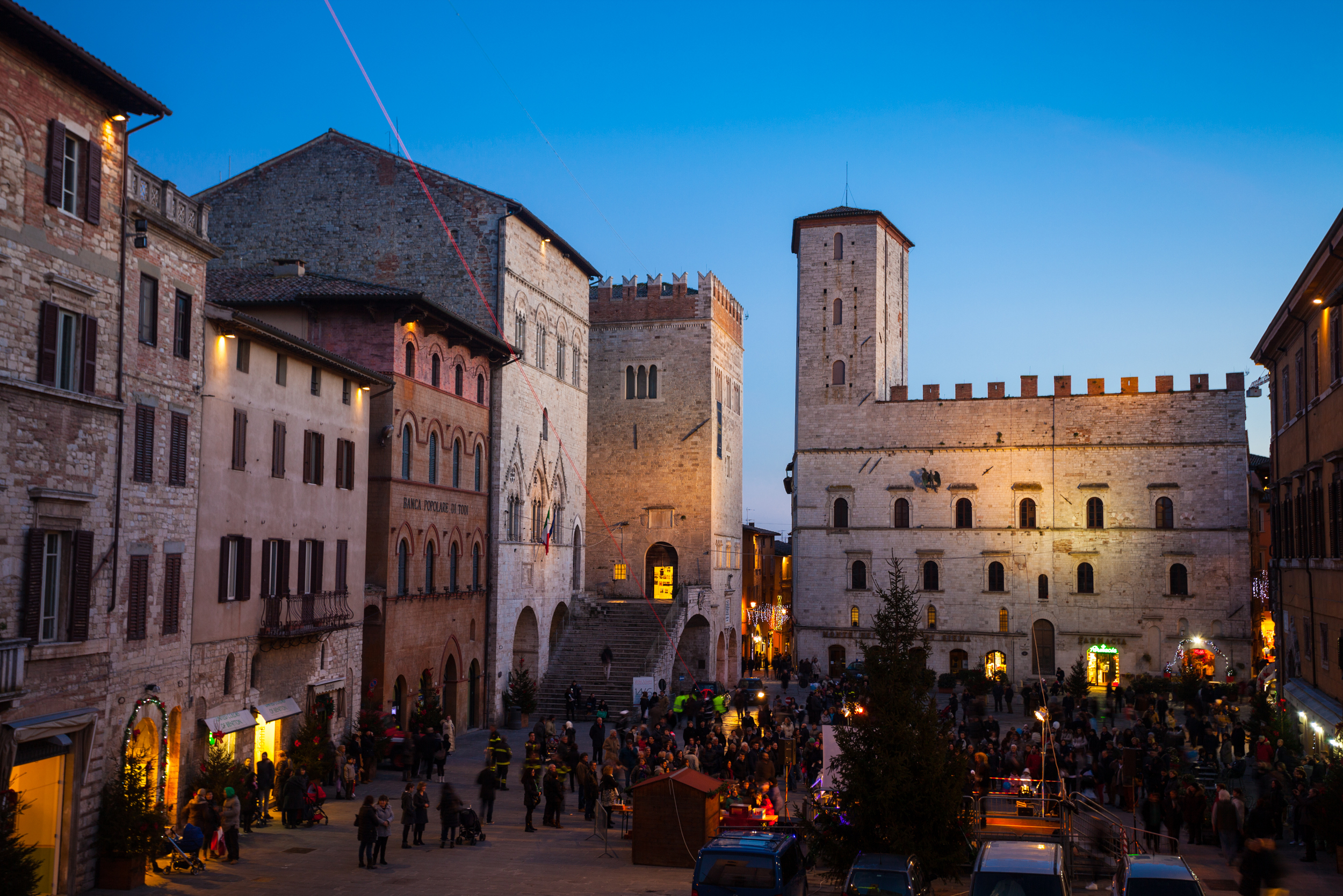 The main square of Todi offers spectacular views of the surrounding countryside.