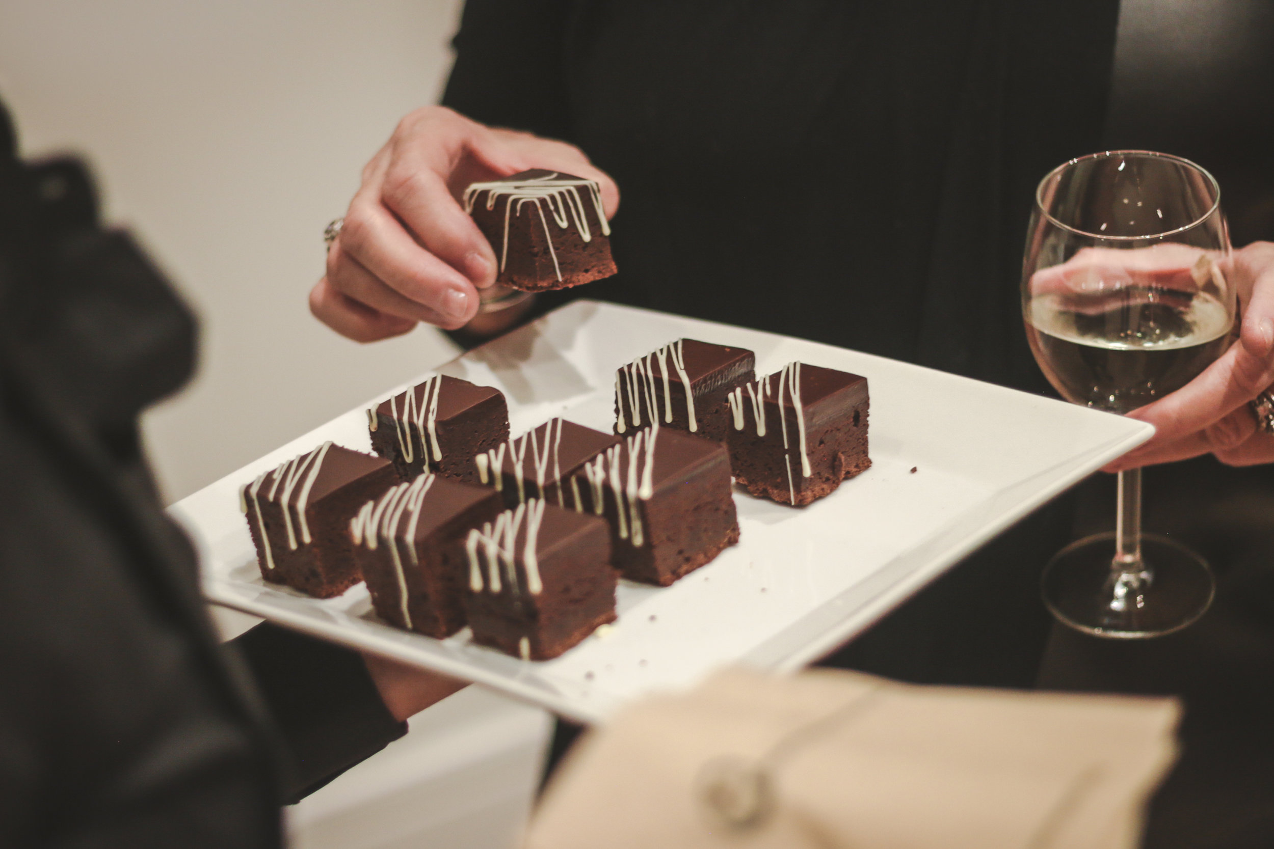 PAVIA's dark chocolate brownie's served at a catering