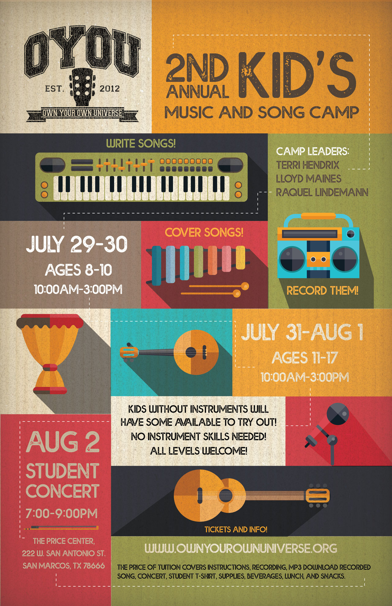 OYOU Kid's Music & Song Camp July 29-30, July 31-Aug.1, 2019 - This is gonna be an incredible week! I am super excited to be assisting Terri Hendrix & Lloyd Maines in the summer OYOU Kid's Music & Song Camp! Ages 8-17…All levels welcome! Please visit OYOU for more information!