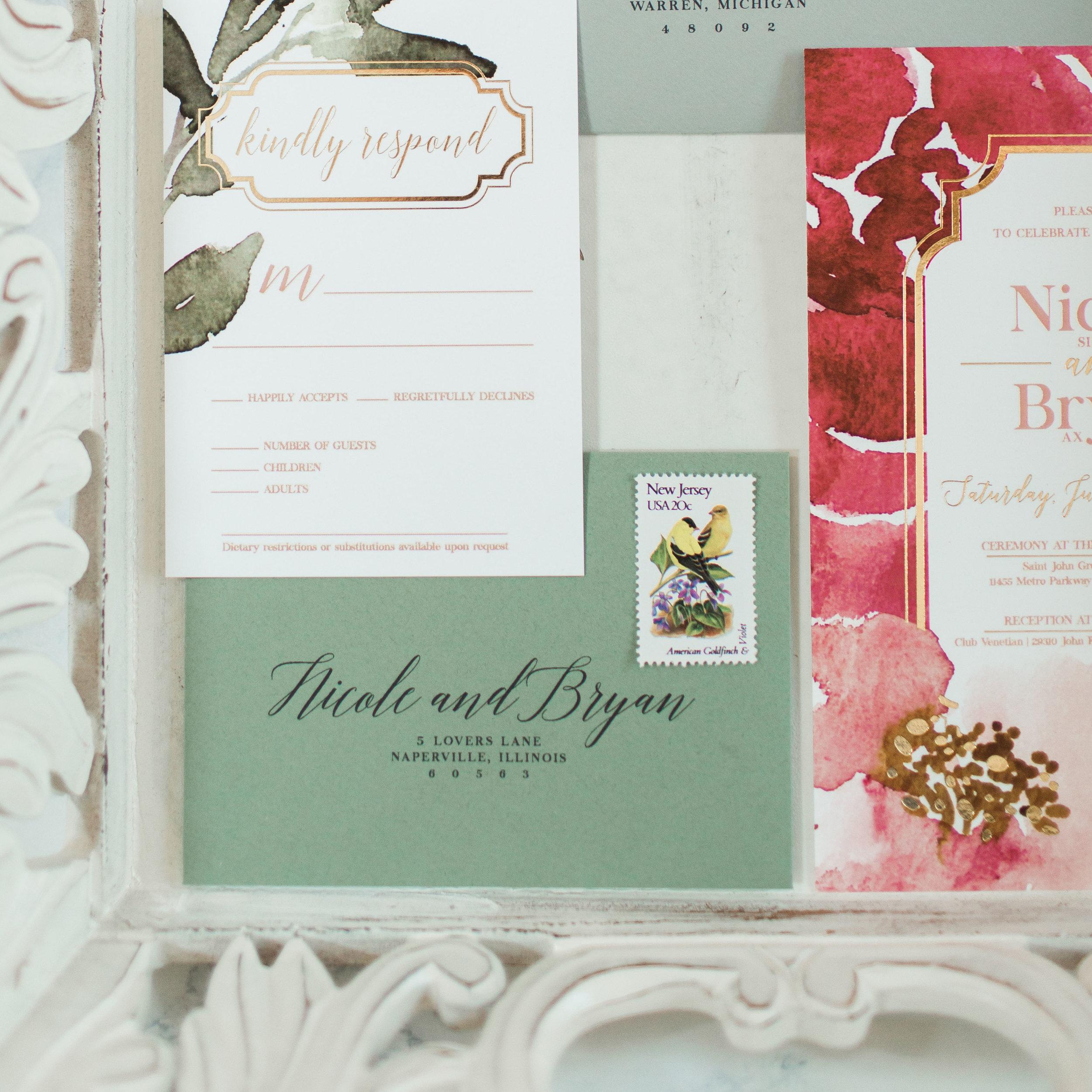 custom gold foil wedding invitations | new jersey wedding invitation designer | princeton invitation designer | elegant and floral wedding invitations