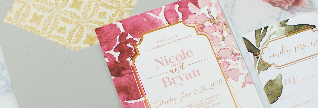 Princeton Wedding Invitation Designer | New Jersey Gold Foil Wedding Invitation