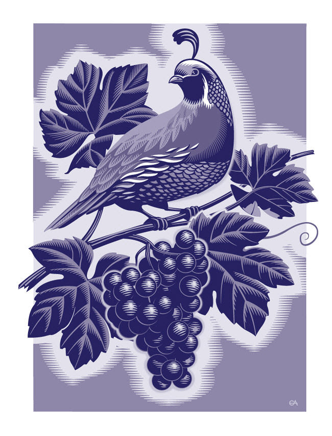 Quail and Grapes in Blue - GA628