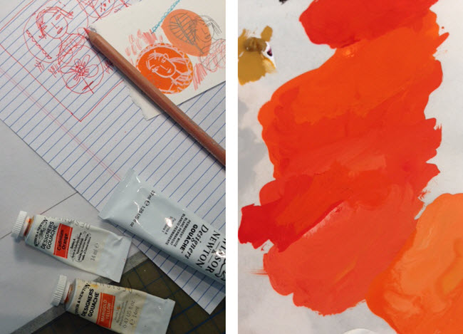 Sketching for Orange Mix by Betsy Everitt