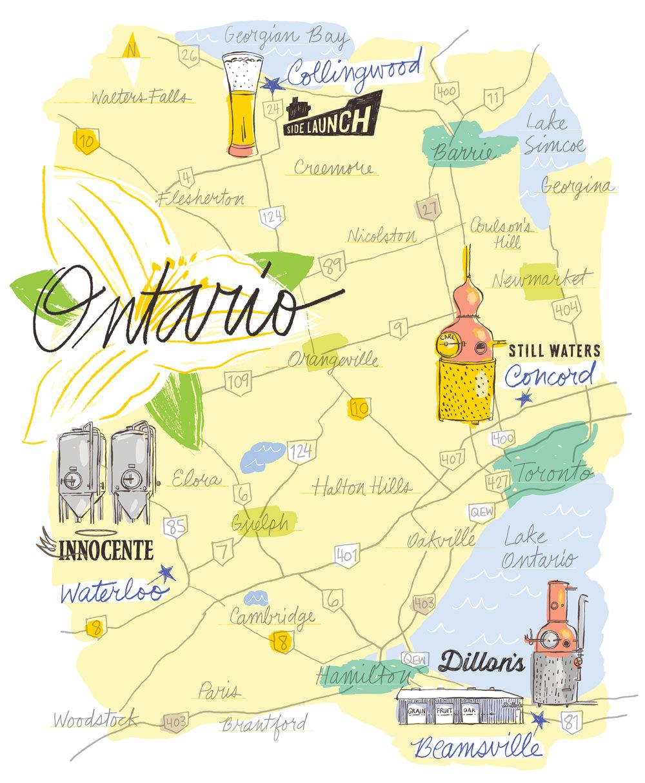 Ontario Distilleries & Breweries Map - KD498