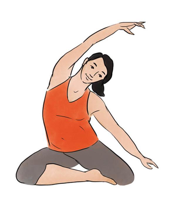 Side Stretch Yoga Pose. Inside Illustration by Jillian Ditner for Chronicle Books book, Nurture.