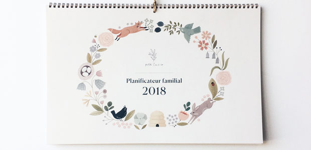 Petit Lou & Co. 2018 Calendar Cover. Illustration by Clare Owen. Represented by i2i Art Inc.