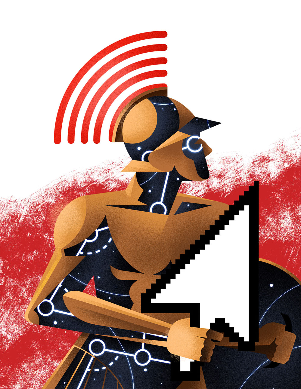 Spartan in Motion. Illustration by Dave Murray. Represented by i2i Art Inc.