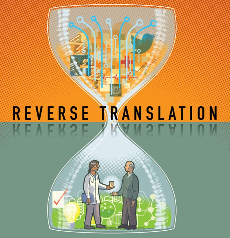 'Reverse Translation'. The hour glass, classic symbol of time passing was the perfect container to house this concept. The tangle of information represented in the top half is quickly 'filtered' through to result in positive real discoveries; reverse translation.