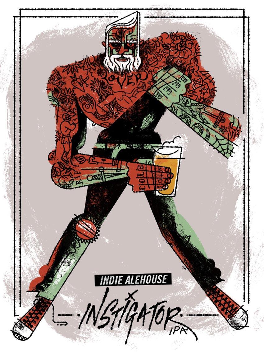 'Instigator'poster for Indie Ale House Instigator IPA.