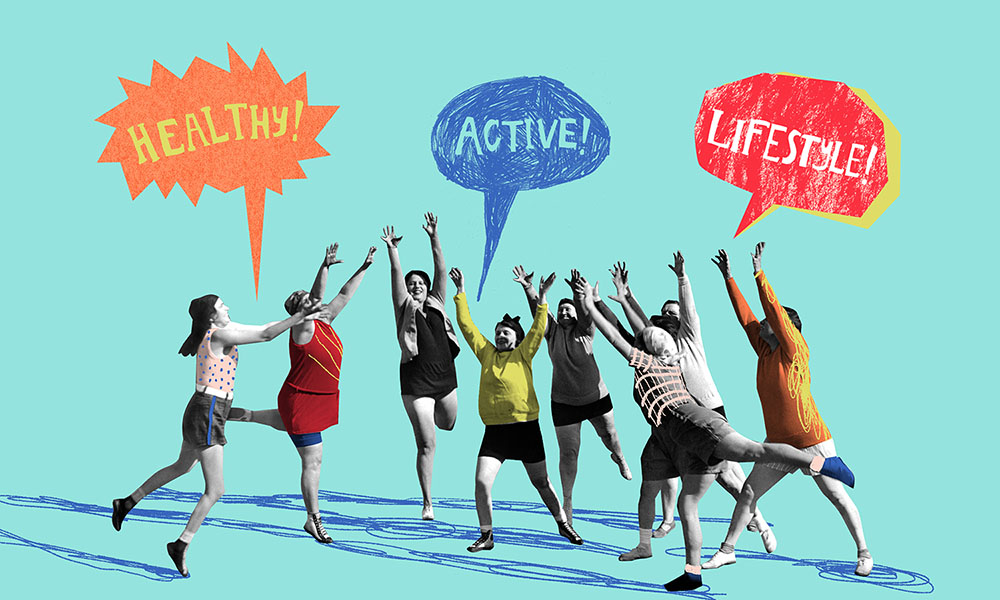 Healthy Active Lifestyle. Illustration by Natalie Nelson.