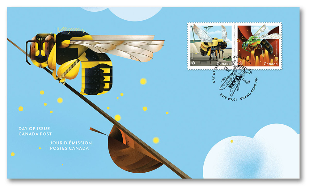 """2018 Canada Post """"Bees"""" Day of Issue Sheet"""
