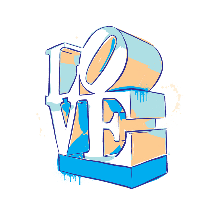 'LOVE' sculpture inspired by artist Robert Indiana's pop art piece
