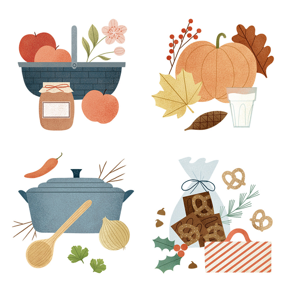 Kitchen Vignettes. Illustration by Clare Owen.