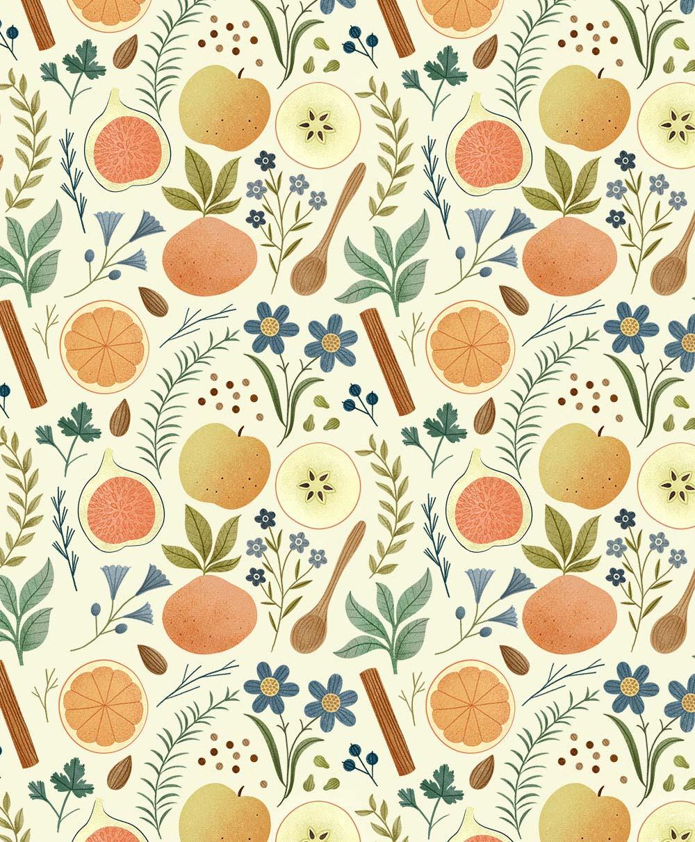 Kitchen Wallpaper. Illustration by Clare Owen.