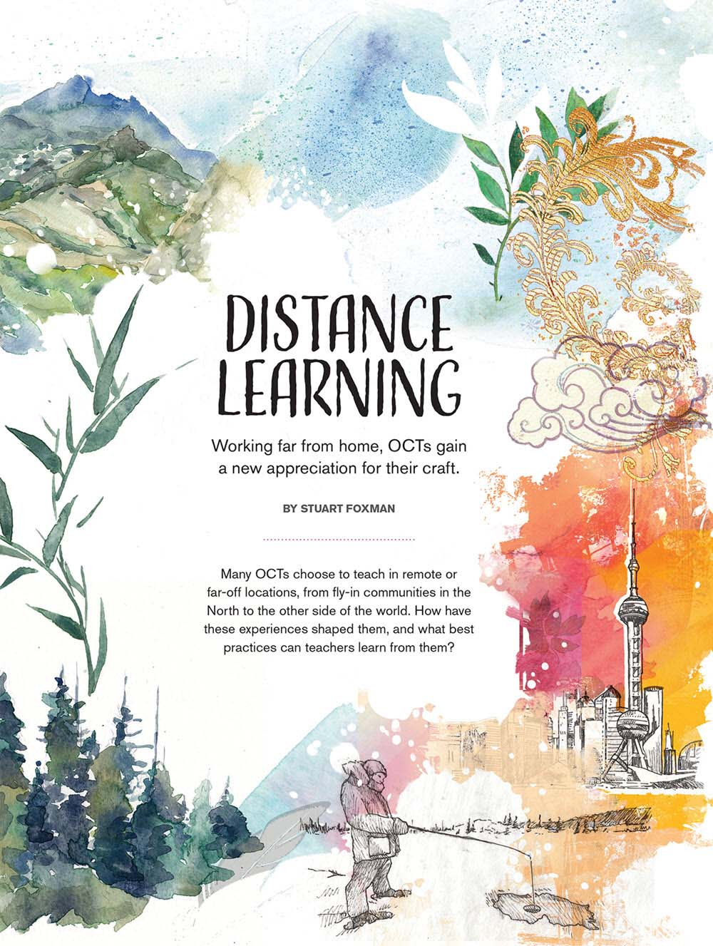'Distance Learning'. Illustration by Janice Kun.