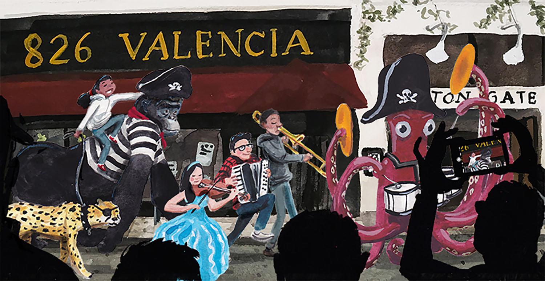 '826 Valencia' for non-profit 826 Valencia's 15 year anniversary.