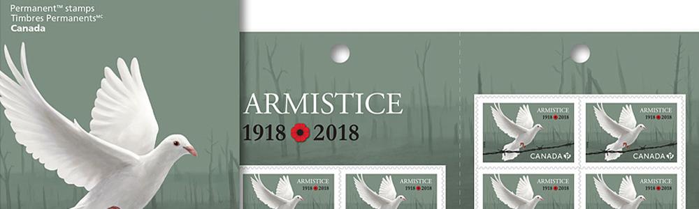 Illustration by Jillian Ditner. Canada Post stamp, armistice.