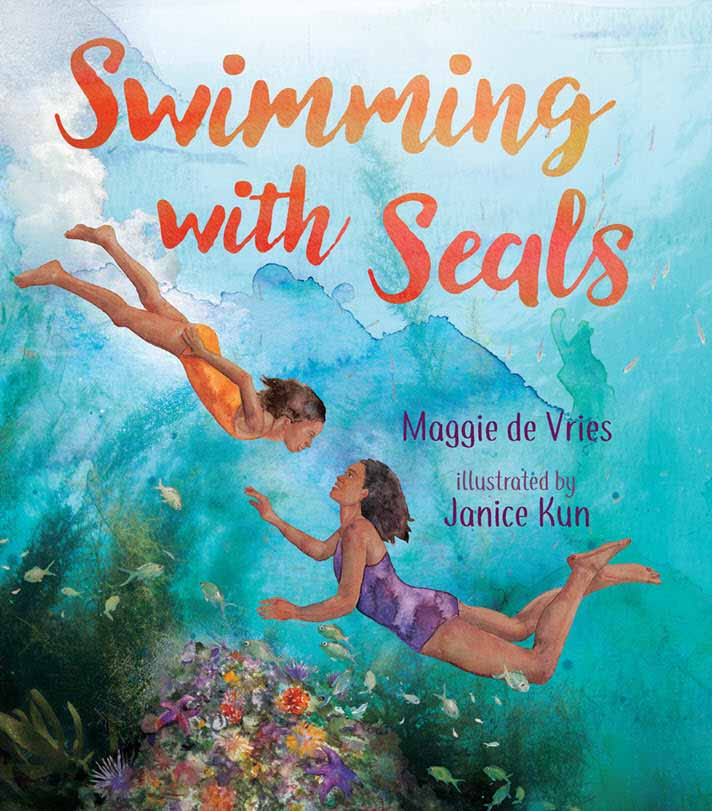 'Swimming with Seals' book cover published by Orca Book Publishers