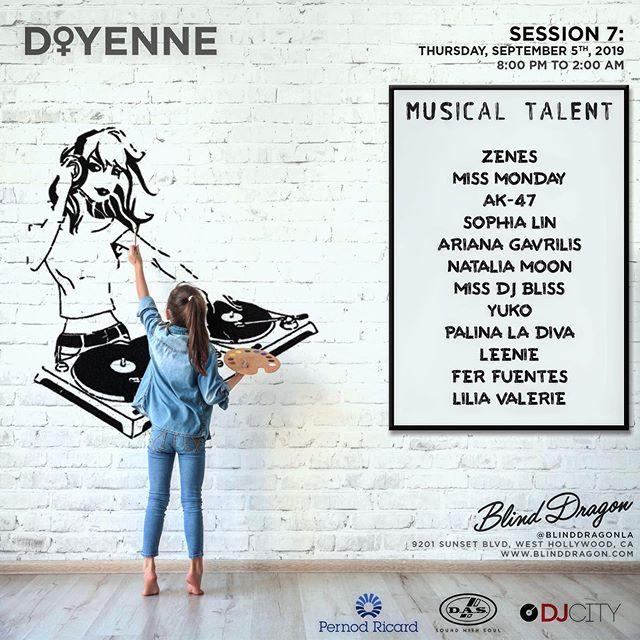 SCHOOL'S BACK IN SESSION 📘 ... 🌍 Who Dis? - '@DOYENNELA' ⚪️ALL WHITE PARTY EDITION ⚪️ ··· Date: Thurs, Sept 5th [Session 7]  Time: 8:00p - 2:00a Location: @BlindDragonLA 🐲 ··· 👯♀️ @doyennela Lineup👯♀️ ··· @ArianaGavrilis @DJPalinaLaDiva @NataliaMoonOfficial @MissDJBliss @DJSophiaLin @DJLeenie @AriesBabyu @DJZenes @DJMissMonday @TheRealDjAK47 🥁 Drums: @FerFuentesDrums , 🎻Violin: @LiliaValerie ··· 👉👉 RSVP Ticket Link in Bio 🎫 tinyurl.com/y2ewjder 💃🏼 ... 🥊 Session 8 🥊 Thurs, October 3rd - Set Calendars! 📆
