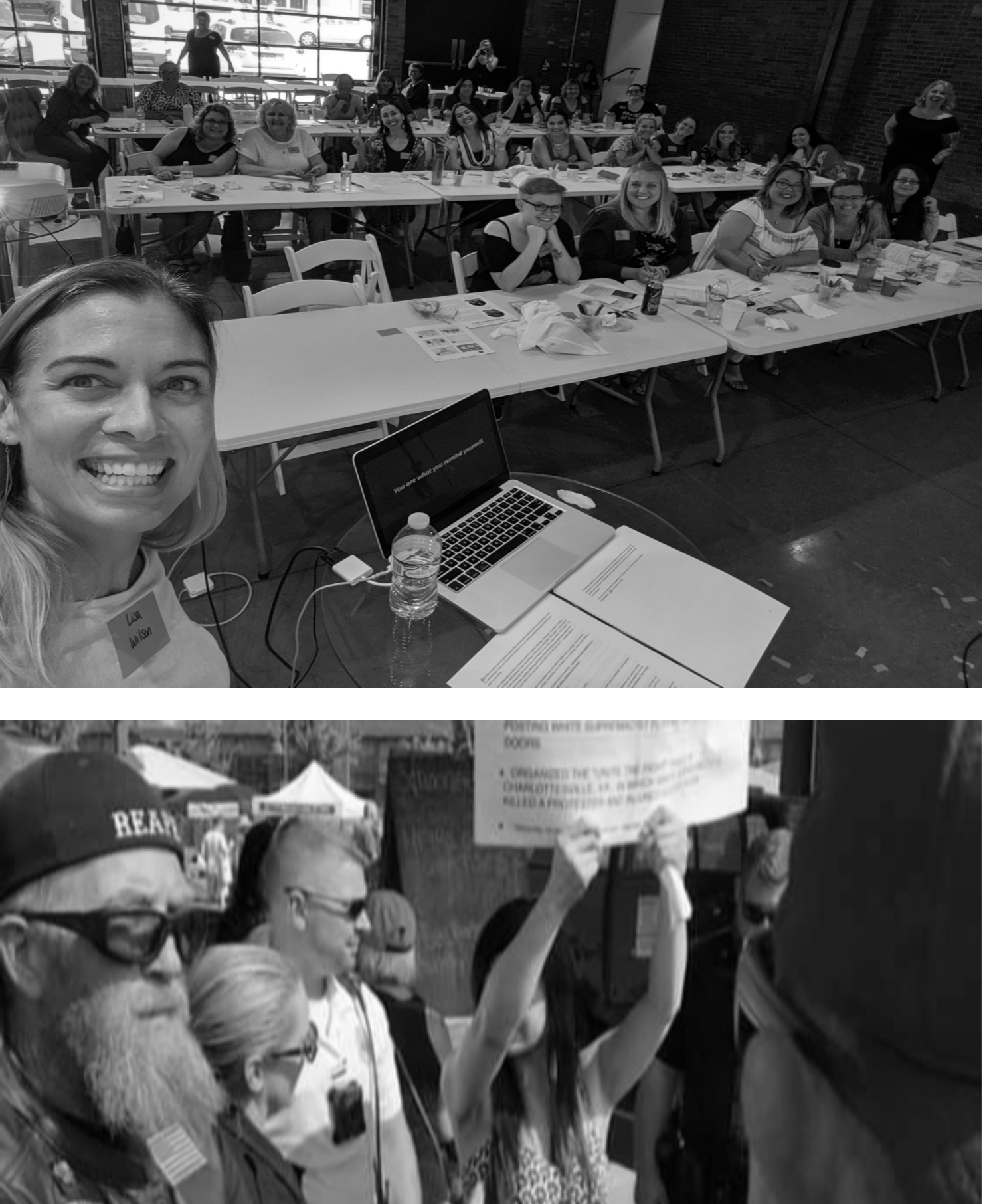Top image: Selfie taken at the conclusion of my SPARK presentation this past weekend.  Bottom image: Photo taken a few blocks away, around the same time as the top photo. at the local Farmers Market, during a protest and subsequent arrest.