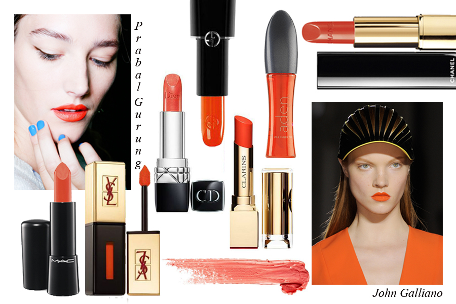 Rouge d'Armani Sheer Lipstick in 300,  Giorgio Armani ;  Arden ; Rouge Allure Excentrique,  Chanel ; Rouge Dior, 532,  Dior ; Rouge Eclat Lipstick in Spicy Orange,  Clarins ; Mineralize Rich, Utterly Delicious,  M.A.C ; Rouge Pur Couture Lip Lacquer in Orange Fusion,  Yves Saint Laurent