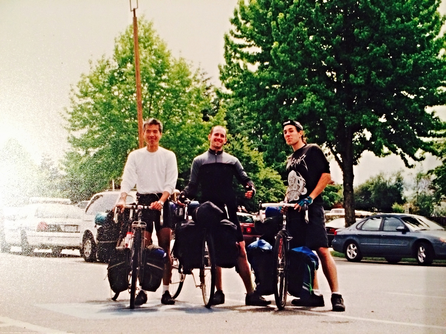 L to R - Chen, Will, David (me).  Chen came along for the first two weeks and left Will and I to make it the rest of the way home. This was taken when we got off the ferry atVancouver Island. Still can't believe I carried so much stuff, but somehow Ijust go use to pushing around a 50 pound bike.
