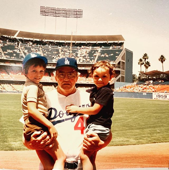 Big ups to an amazing cousin @tortamaniac for sending this classic. @dodgers Old Timers game circa 1984ish with our hero and World Series Champ gramps. 20th oldest living MLB player with over 1,000 games in his playing career alone and still going strong at 94!  #grateful #family #dodgers