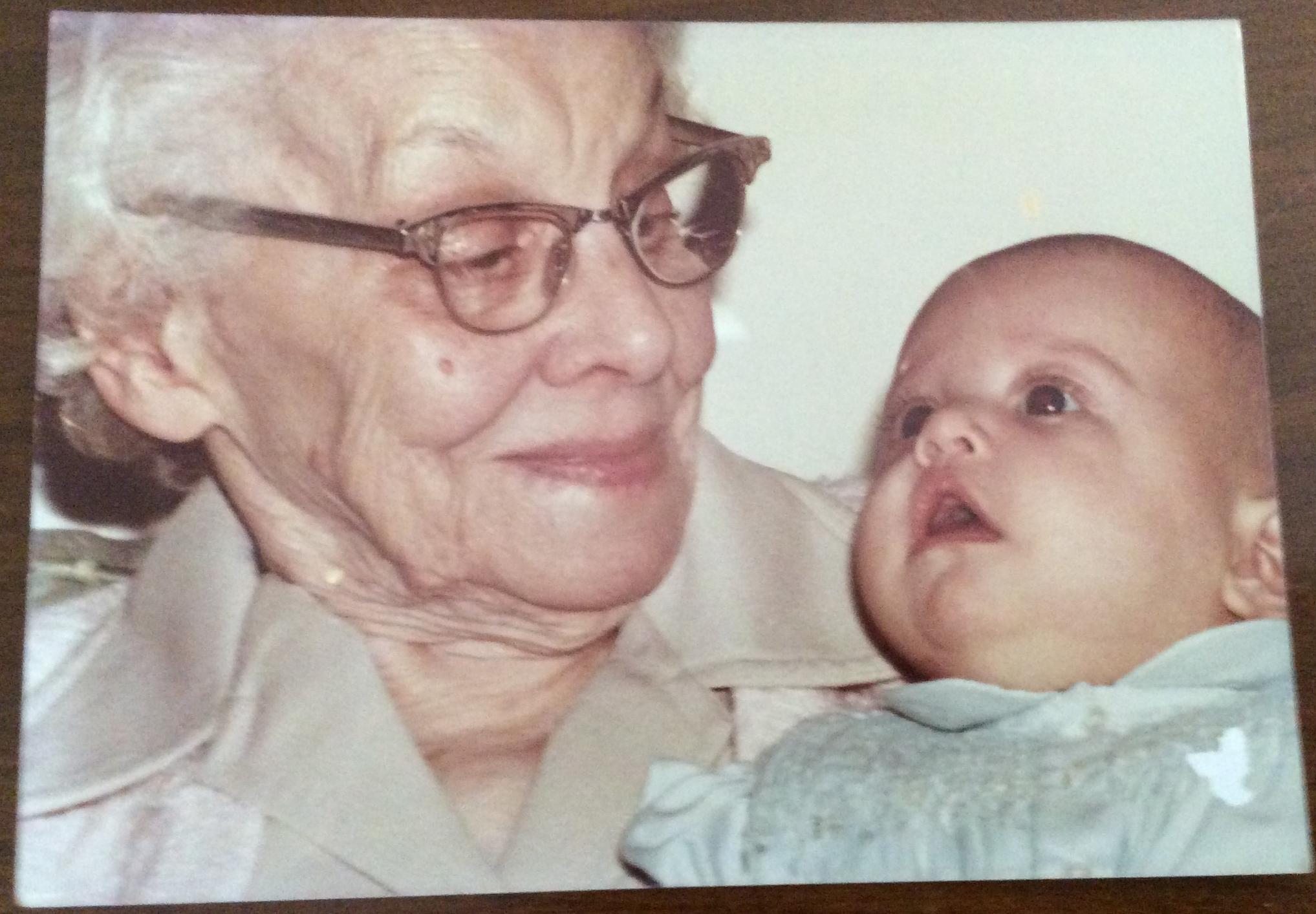 In Picture: Lauren (Wife) being held by Great Grandma (Grandma Jane's Mom)
