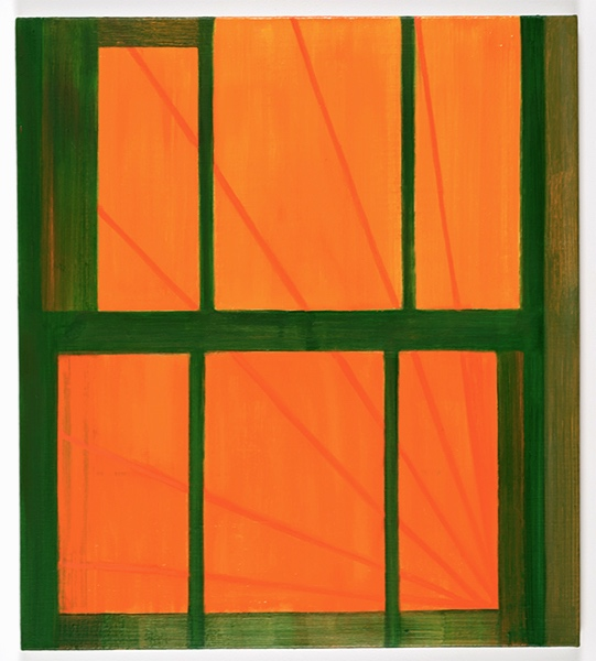 """Opening"" (Green over orange)  2019  27 x 24"" inches.  Oil on linen."