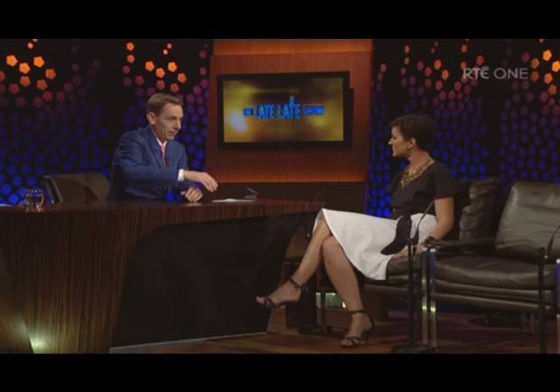 Maria Walsh appeared on Ireland's  Late Show  wearing a skirt and wrap top created for her by Megan Swansen.