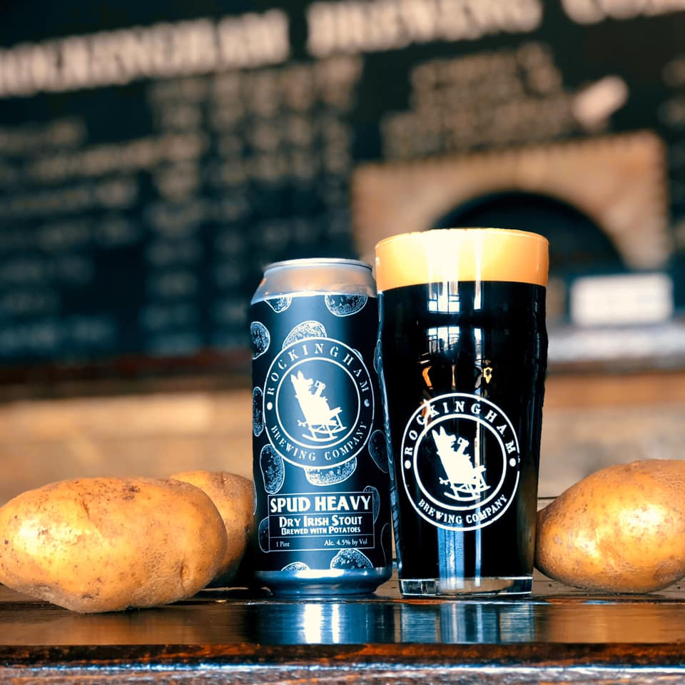 Spud Heavy  Dry Irish Stout brewed with Potatoes 4.5% ABV Smooth, roasty & creamy