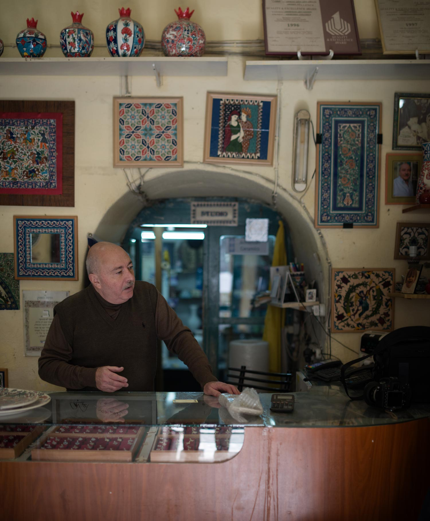This Armenian shop owner told us about how his people are being driven from Israel. Once in history they outnumbered Jews and Muslims alike. Now there are only a few hundred left in the city.