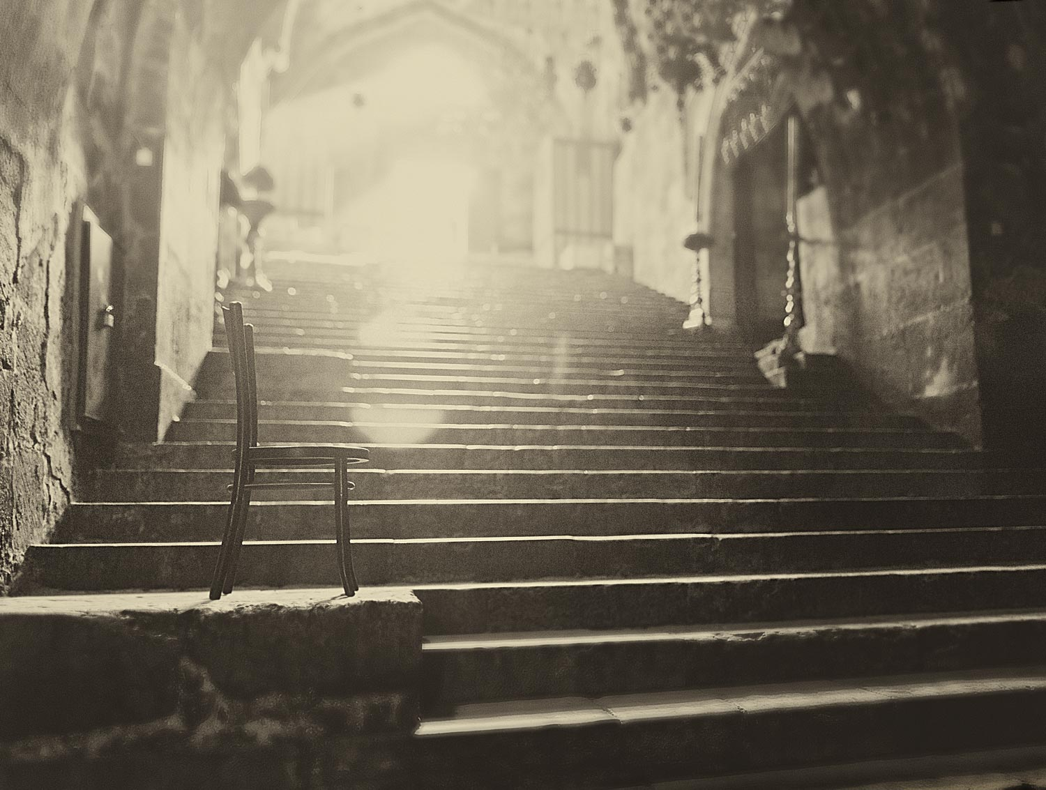 Steps leading down to the tomb of Mary.