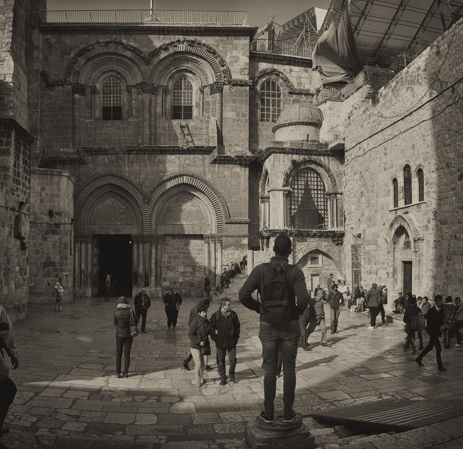 Out front at the Church of the Holy Sepulcher.