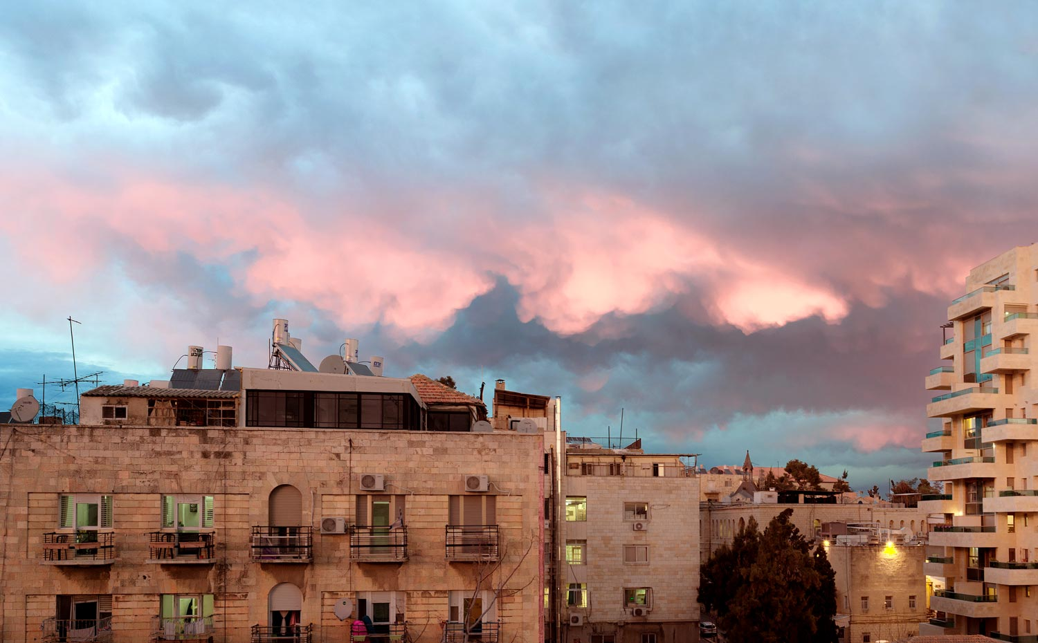 Colorful and interesting clouds from the balcony of our Air BnB flat