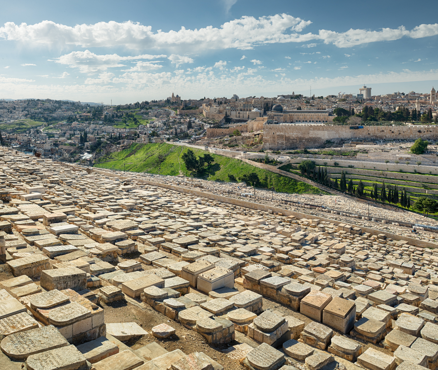 A Jewish Cemetery that stretched as far as the eye could see it seemed. Looking west you see the Old City of Jerusalem.