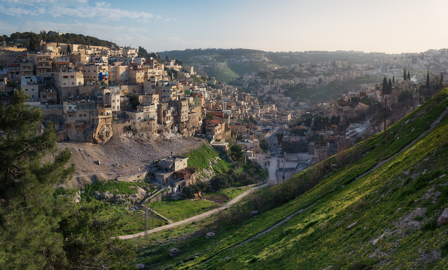 Looking southeast from the Old City of Jerusalem to the Palestinian Silwan neighborhood, where the next day Israeli police destroyed an apartment building for not having the proper permits.
