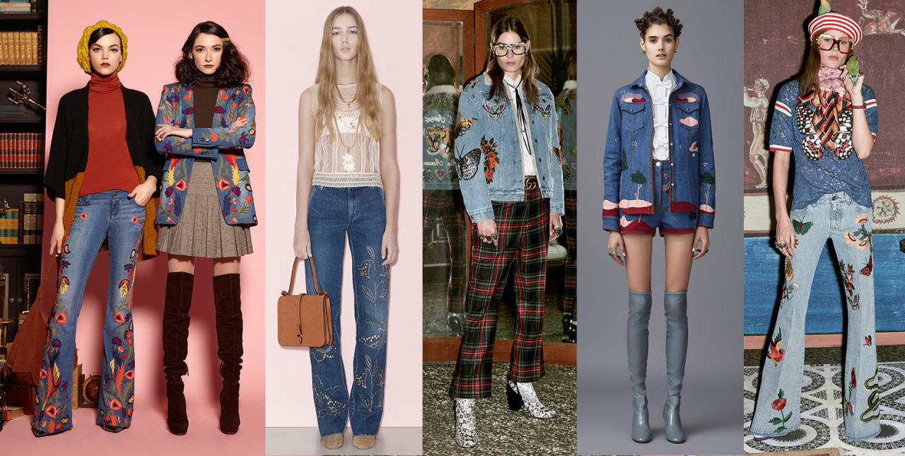 Embroidered Denim trending Pre Fall 2016. From the likes of  @aliceandolivia   @redvalentino   @gucci  and Valentino.