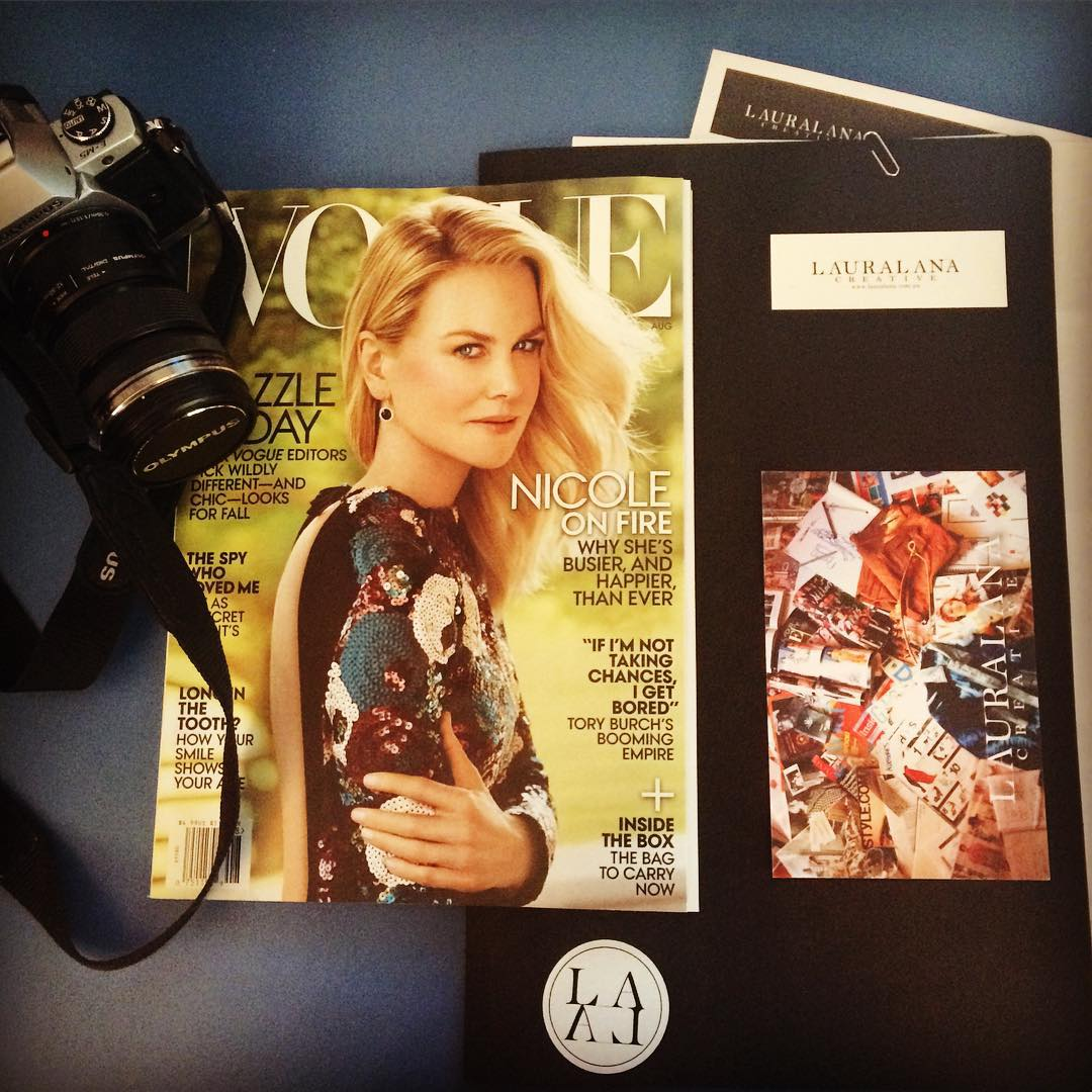 Nicole dons the cover of August US @vogue. Laura Lana Creative gets to work helping designers create. It's all in a day's work!  www.lauralana.com.au  #getcreative