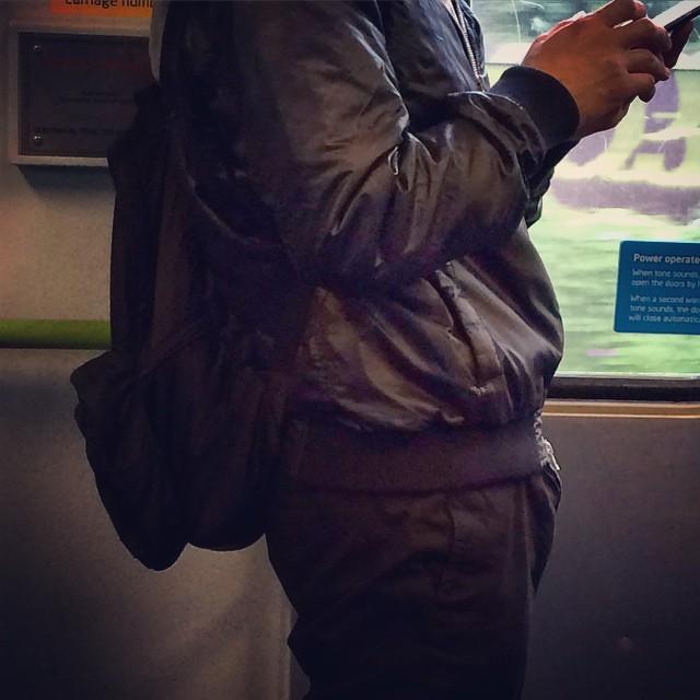 Black on black on black. Backpack + bomber + chinos = cool dude #fashiontraining