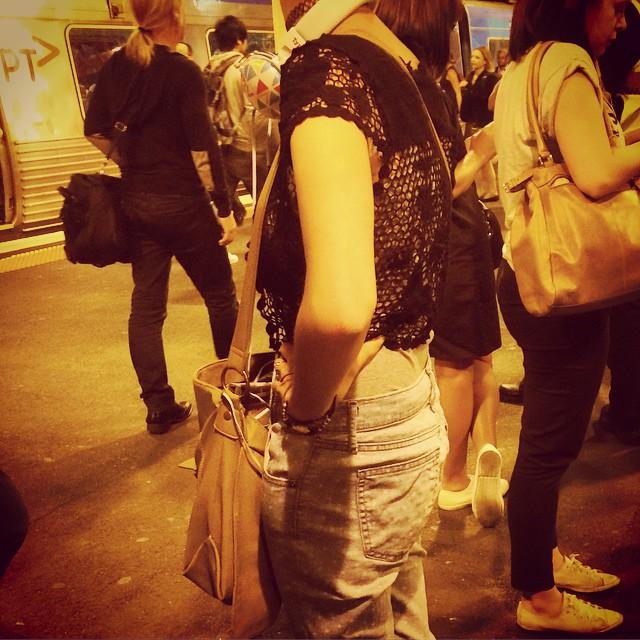Rockin printed denim! Note: choker and headphones! #fashiontraining #melbourne
