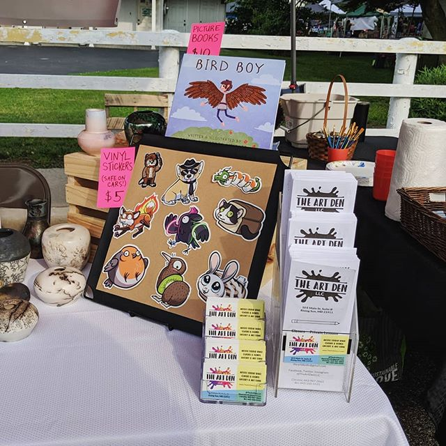 Exhibiting at Sunfest today with @theartdenllc! Here's my tiny corner!