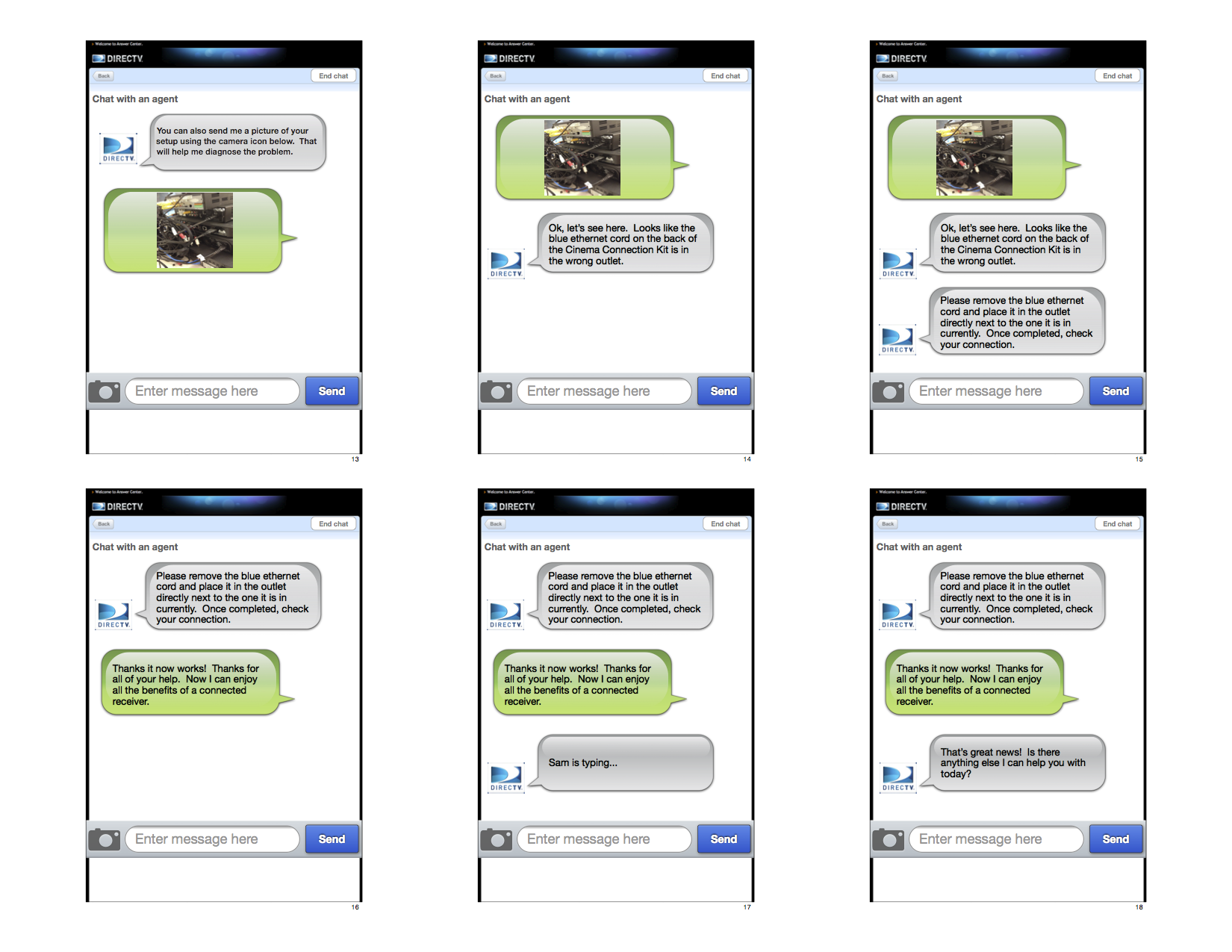 An interactive prototype (made with Keynote), used in testing to simulate chat on a mobile device.