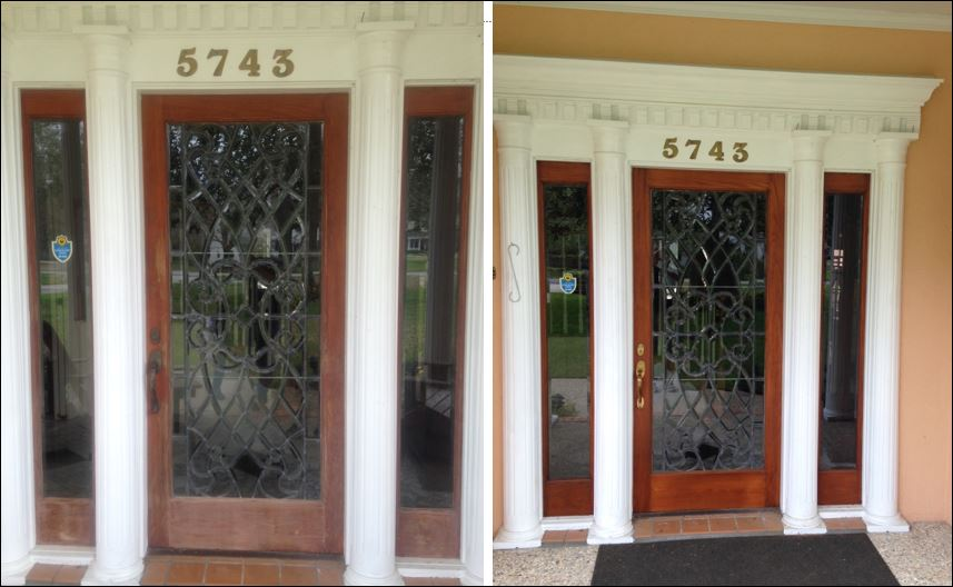 Entry door restained in Baton Rouge
