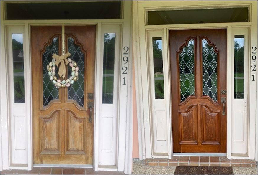 Cypress entry door in Baton Rouge refurbished