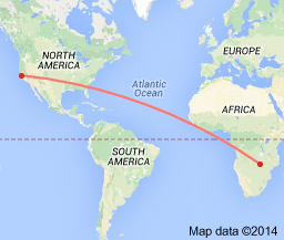10,0037 miles from San Francisco to Lusaka Zambia