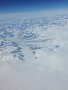 Arctic snow fields from 35,000 feet.