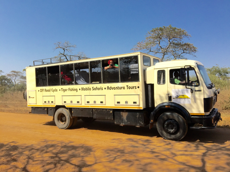 """Our tents, luggage and food and sometimes the team were transported in the """"Rhino""""."""