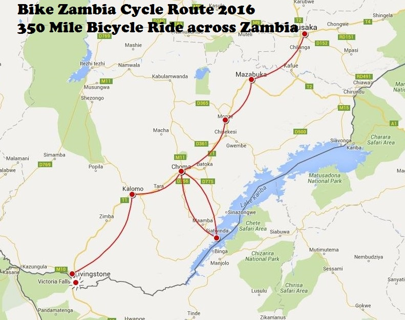 Cycle Route from Lusaka to Livingstone.