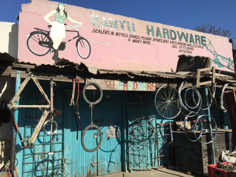 Local bike shop. Fortunately, we had our own bike mechanic and spare tubes and parts.